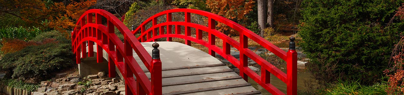 Red Bridge at Duke Gardens Header Image